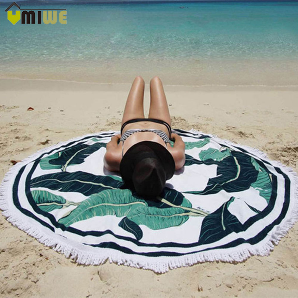 150cm Round Towel Beach Yoga Mat Throw Blanket Tapestry Hippie Picnic Tablecloth