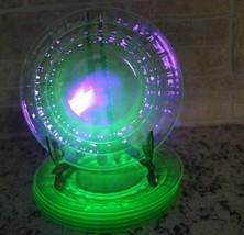 "Hazel Atlas Green Uranium Vaseline Depression Glass 8"" Luncheon Salad Pl... - $39.29"