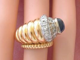 VINTAGE RETRO .82ctw DIAMOND 3ct SAPPHIRE 18K CORNUCOPIA JUMBO PINKY RIN... - $3,167.01