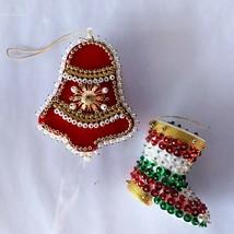 Vintage Handmade Satin Christmas Ornament BELL & BOOT Pearl Beaded Sequi... - $20.00