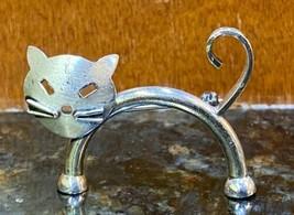 Vintage Whimsical Sterling Silver Jewelart Beau Cat Brooch 925 - $25.00