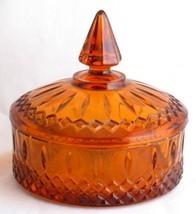 Indiana Glass Princess Amber Candy Dish Box w Lid - $5.00