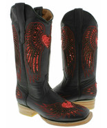 Womens Cowboy Boots Heart Wing Black Leather Inlay Red Sequins Square Si... - $96.03