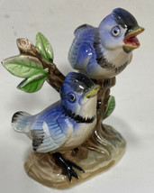 Vintage China Bird Figurine Blue Jays on Branch Made in Japan Collectibl... - $11.25
