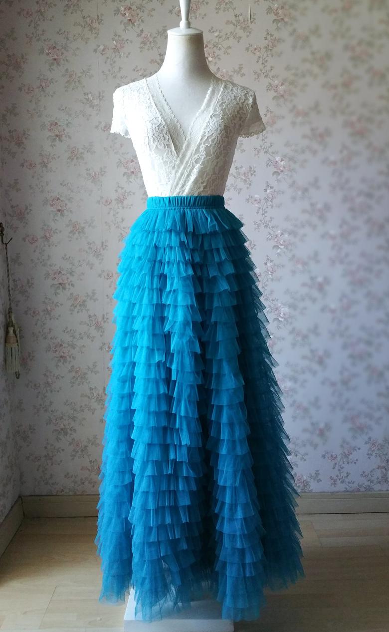 Blue 24 floor length tulle skirt 780 3