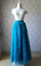 Women Bridesmaid Long Tulle Skirt Blue Ruffle Maxi Plus Size Tulle Skirt Wedding