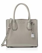NWT Michael Kors MERCER Med Messenger Leather Crossbody Bag Pearl Grey A... - $145.00