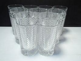 Set of 9 RALPH LAUREN HERRINGBONE Crystal Tumblers / High Ball  - $129.95