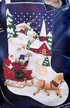 Bucilla Winter Twilight Sleigh Horse Church Christmas Felt Stocking Kit 83389 - $127.95