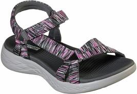Skechers Women's On-The-go 600Dazzling Sport Sandal,Charcoal/Multi,6US/ ... - $44.99