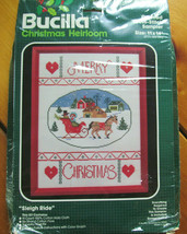 Bucilla Christmas Heirloom Sleigh Ride Kit Counted Cross Stitch Sampler 11 X 14 - $9.99