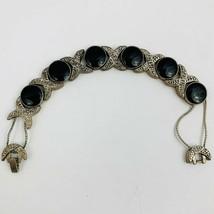 Vintage XO Hugs and Kisses Slide Charm Bracelet Black Enamel Silver Tone XOXO - $29.65