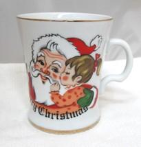 Vintage Lefton Santa w Girl Kissing Cheek Merry Christmas Coffee Mug # 437 - $29.69
