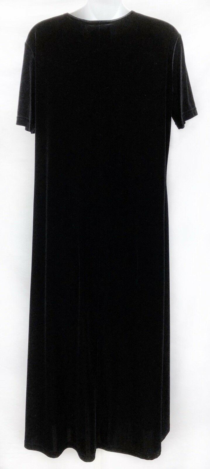 Sz L Classy Black Stretch Lux Velvet Maxi Dress Short Sleeve Womens Dress USA
