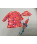 Barbie Doll  Contemporary Vinyl Raincoat, Hat & Umbrella Pink w/ Colored... - $18.97