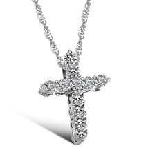 White Gold Plated Cross Necklace Women Pendant Choker Chain W Bling CZ Jewelry - $12.90