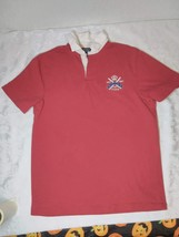 Vntg Polo Ralph Lauren Rugby S/S With Patches Red - $34.65