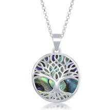 Sterling Silver Natural Turquoise/Abalone/Mother-of-Pearl Stone Tree of ... - $144.99