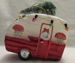 "Christmas Retro RV Air-stream RV Camper hauling Tree & Lights 4"" Glass O... - $32.99"