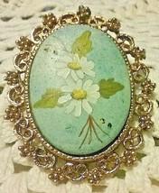 "Vintage Jewelry: 2"" Ceramic Flower Pendant/ Brooch 171101 - $8.90"