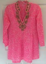 NEW $148 Sz XS Lilly Pulitzer Sarasota Beaded Tunic Cosmo Pink Mini Part... - $59.39