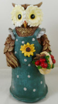 "Anthropomorphic Owl Figurine 9"" Resin Green Dress - $19.79"