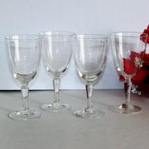 VINTAGE SHERRY GLASSES ETCHED CUT FERN PATTERN 4 ELEGANT GOBLETS DEPRESS... - $30.68