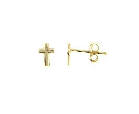 18K YELLOW GOLD EARRINGS SMALL CROSS, SHINY, SMOOTH, 4mm, MADE IN ITALY