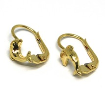 Drop Earrings Yellow Gold 750 18k, for Girl, Dolphins Hammered image 2