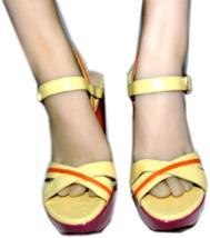 Stuart Weitzman Cut Out Pink Wedge Sandals Color Block Slingback Shoes 10 image 4