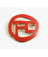 VINTAGE ESTATE Jewelry MUSEUM MMA RED ENAMEL ASIAN CHARACTER BROOCH  - $65.00