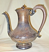 Vtg Victorian Silver Plate Coffee Pot w/Carved Wood Handle & Finial, Han... - $45.00
