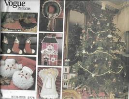 Vintage Vogue PATTERN-Christmas Ornaments-Wreath-Santa Pillow-Angel-Skirt-Stocki - $9.46