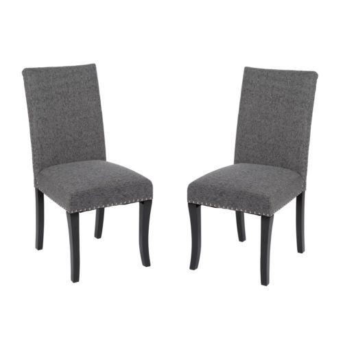 Set Of 2 Dining Chairs Grey Nailhead Fabric High Back Accent Modern Kitchen Seat