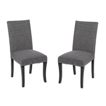 Set Of 2 Dining Chairs Grey Nailhead Fabric High Back Accent Modern Kitc... - $238.59