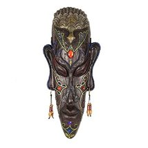 George Jimmy Medium-Sized Carved African Mask Wall Hanging Africa Decor Wall Art - $58.77