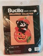 Bucilla Embroidery Kit Halloween Black Cat Pumpkin Wall Hanging 6030 USA Vtg - $76.21