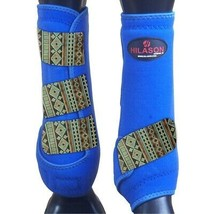 Hilason Horse Medicine Sports Boots Rear Leg Royal U-/NTB - $55.95
