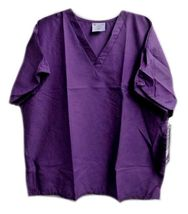 Purple Scrub Top 2XL Working Scrubs White Swan V Neck Chest Pocket Unisex New image 6
