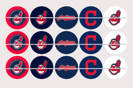 Printed Precut CLEVELAND INDIANS inspired 1 inch images for bottlecaps, ... - $2.00