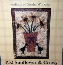 "Pine Mountain Punchneedle Embroidery Sunflower Crows Sandra Workman 3""x4"" P32 - $7.92"
