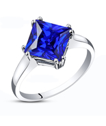 Princess Cut Blue Sapphire White Fn.925 Silver Solitaire Women's Engagem... - $60.12