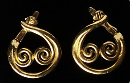 VintageTrifari Gold Plated Clip Earrings Swirling Hoop Design - Gorgeous! - $8.90