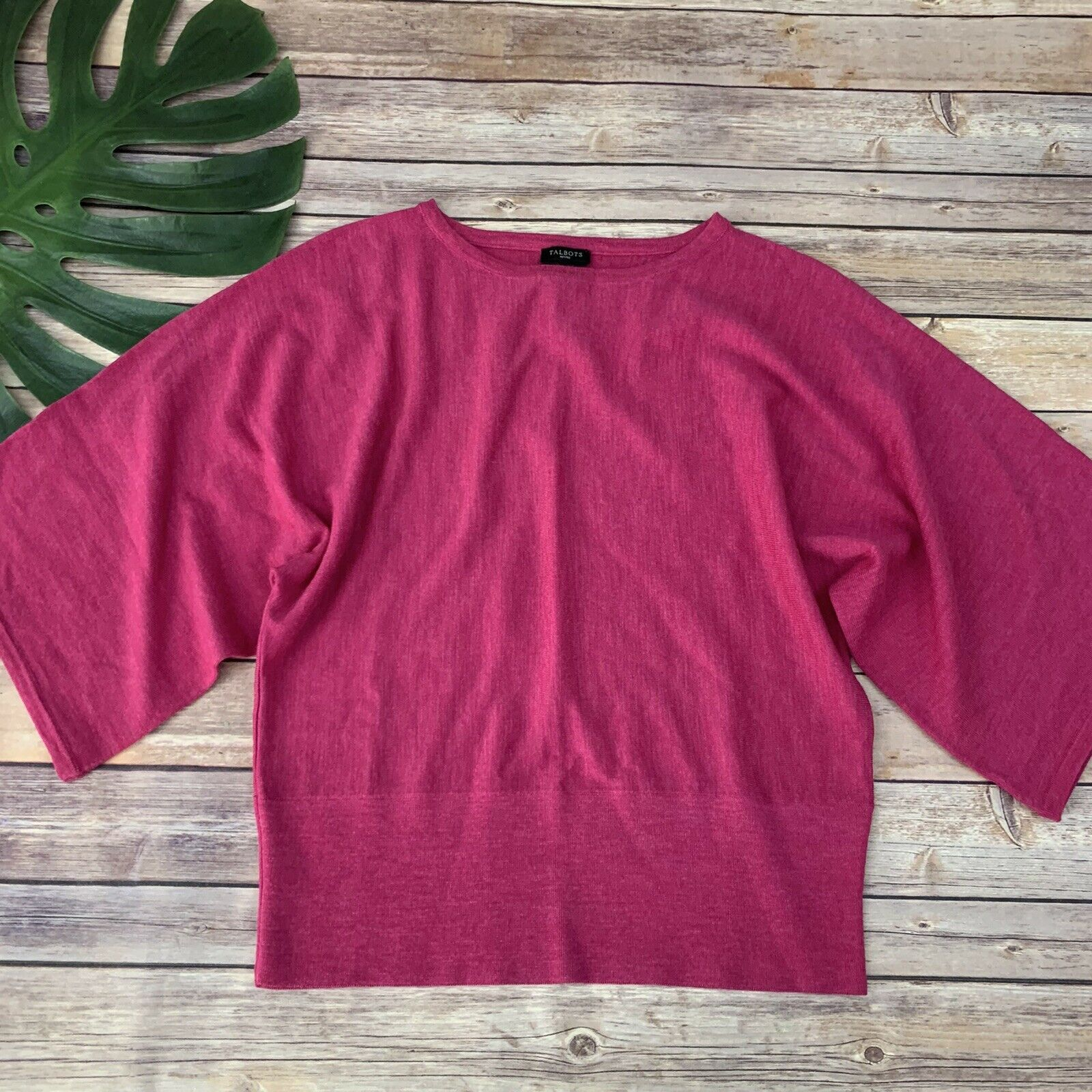 Primary image for Talbots Batwing Merino Wool Sweater Size M Petite Bright Pink 3/4 Sleeve Solid