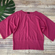 Talbots Batwing Merino Wool Sweater Size M Petite Bright Pink 3/4 Sleeve... - $28.70