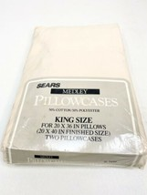 Vintage Sears Medley King Size Pillowcases (2) Indian Sand  - $12.86