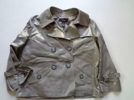 Alfani Metallic Silver Gray Cotton Rayon Acetate Double Breast Coat Jack... - $17.09