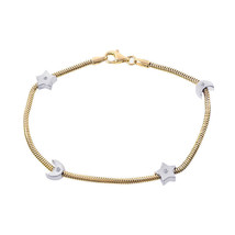 0.10 Carat Bezel Set Round Cut Diamonds Moon & Stars Bracelet 14K Two Tone Gold - $465.30