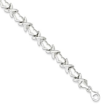 "Primary image for Lex & Lu Sterling Silver Polished and Satin X and Hearts Bracelet 7"" LAL13687"