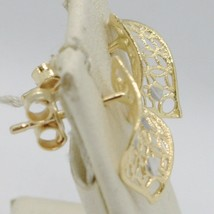 SOLID 18K YELLOW GOLD PENDANT EARRINGS FINELY WORKED ONDULATE LEAF MADE IN ITALY image 2